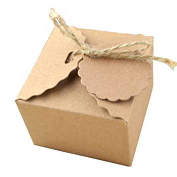 50pcs Papel Kraft Caja de Regalo,Dulces Regalos Cajas,Para el presente del banquete de boda Embalaje Favor Favor Regalo Dulces,Marrón: Amazon.es: Hogar