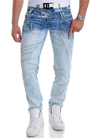 8612fe7650 D R Fashion Cipo   Baxx Men s Jeans Denim Pants Double Waist Washed Out  Light ...