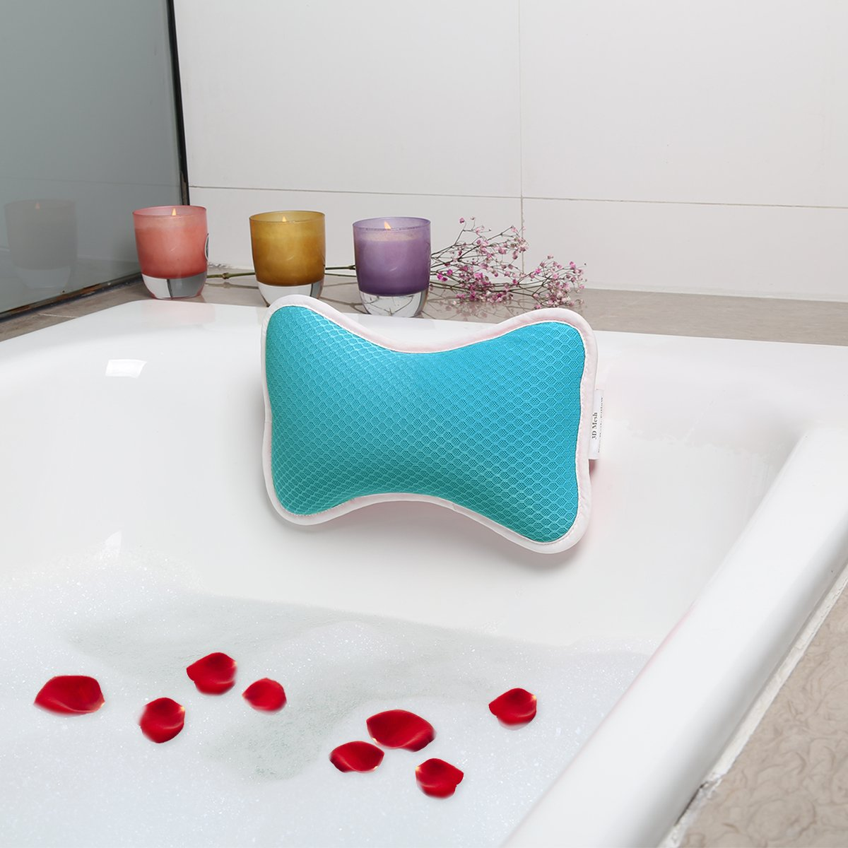 Bath Pillow for Tub, 2 Strong Suction Cups Spa Pillow Anti Bacterial Cushion, Home Spa Non Slip Support for Bathtub, Hot Tub, Jacuzzi Wasan