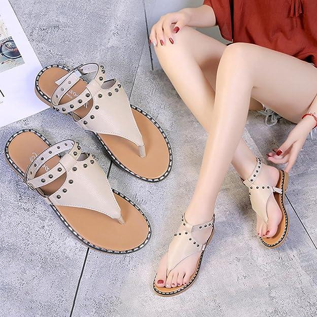 Amazon.com | RAISINGTOP Sandals Women Leather Flats Fashion Shoes Dressy Thong Sandalias De Mujer Zapatillas Que No Resbalen Verano Black | Flats