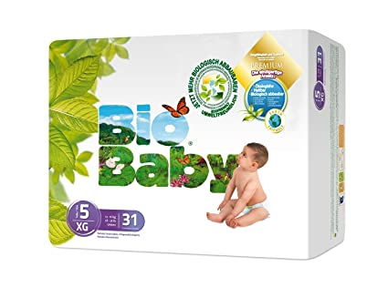 Baby Bio capas ecológicos desechables, biodegradables 124-Pañales (12-16) kg