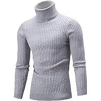 AIDEAONE Jersey de punto para hombre, cuello alto, cálido, básico, cuello alto