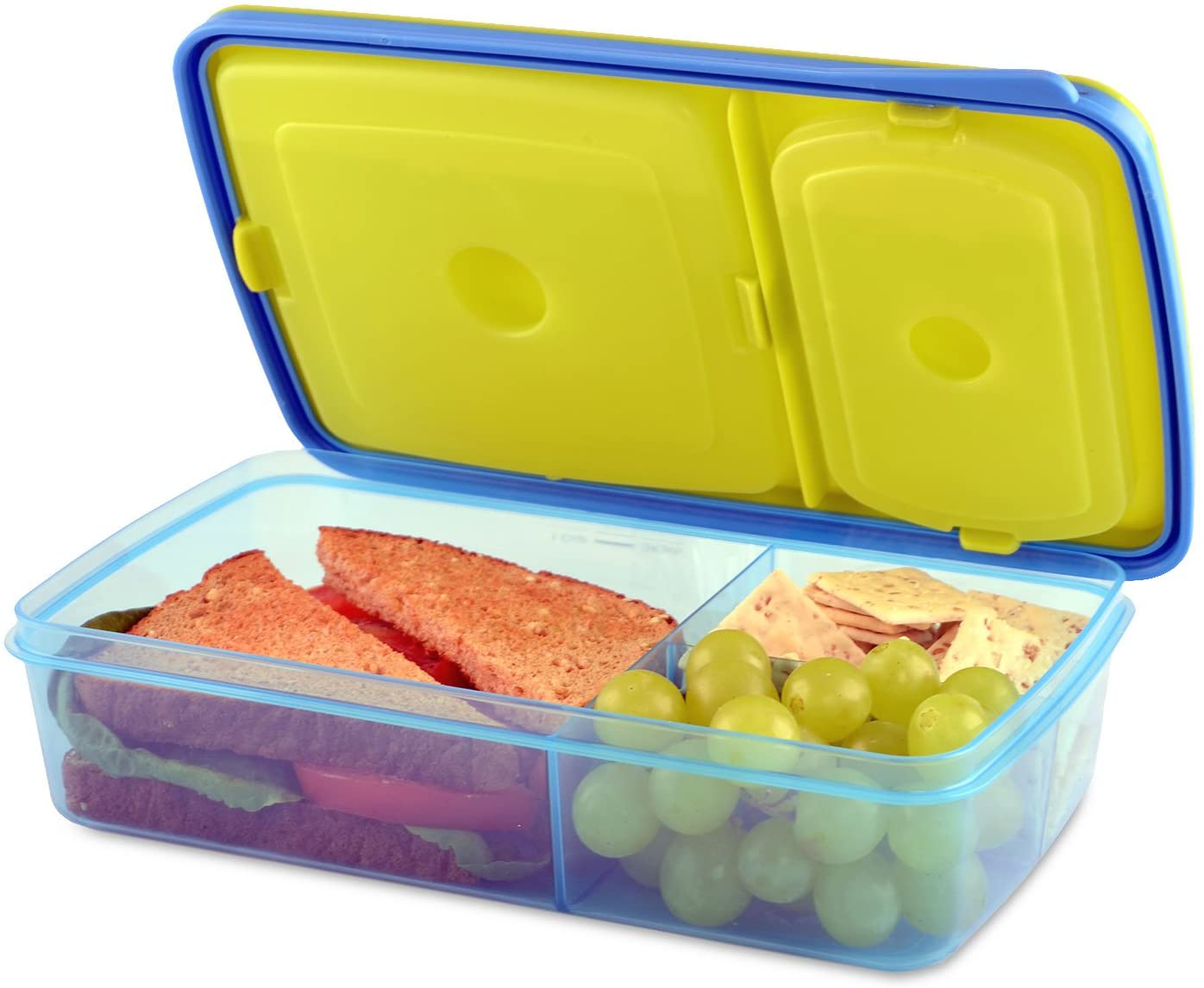 Fit & Fresh Kids' Reusable Divided Meal Carrier with Removable Ice Packs, Bento Box Lunch Container with 3 Food Storage Compartments, BPA-Free, Microwave/Dishwasher Safe, Assorted Colors
