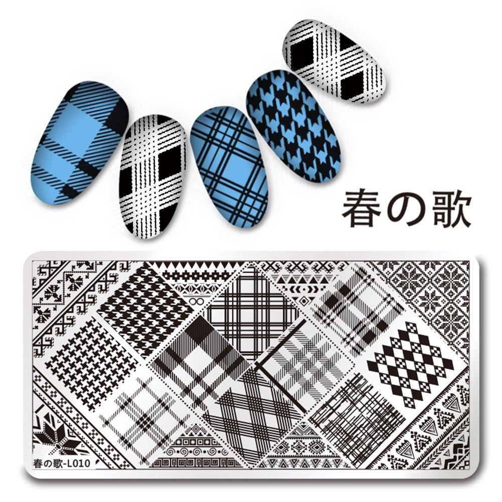 Born Pretty 12 * 6cm Rectangle Modèle de timbre d'ongle Modèle à carreaux Image Plaque Harunouta L010 Nail Art