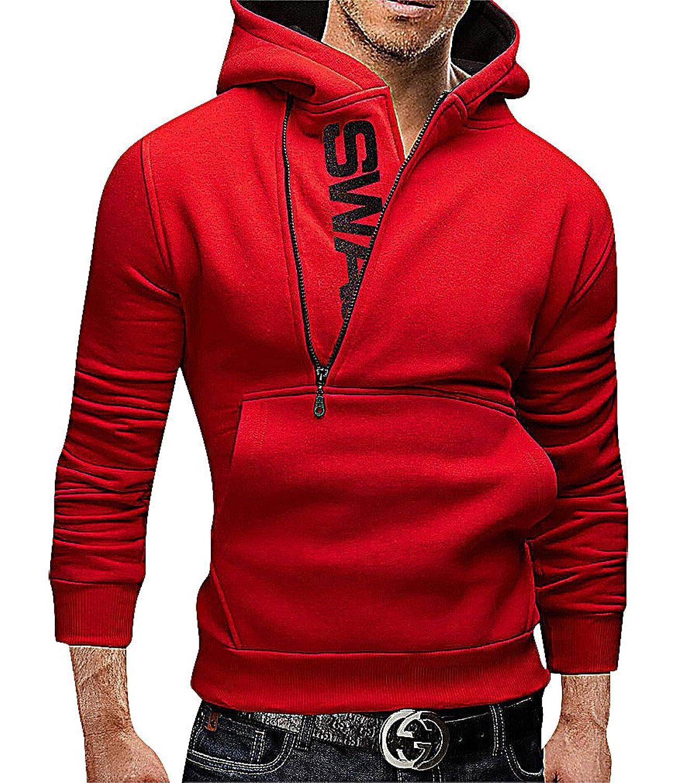 Irregular Zip Distressed Long Hoodies Sweatshirt Men