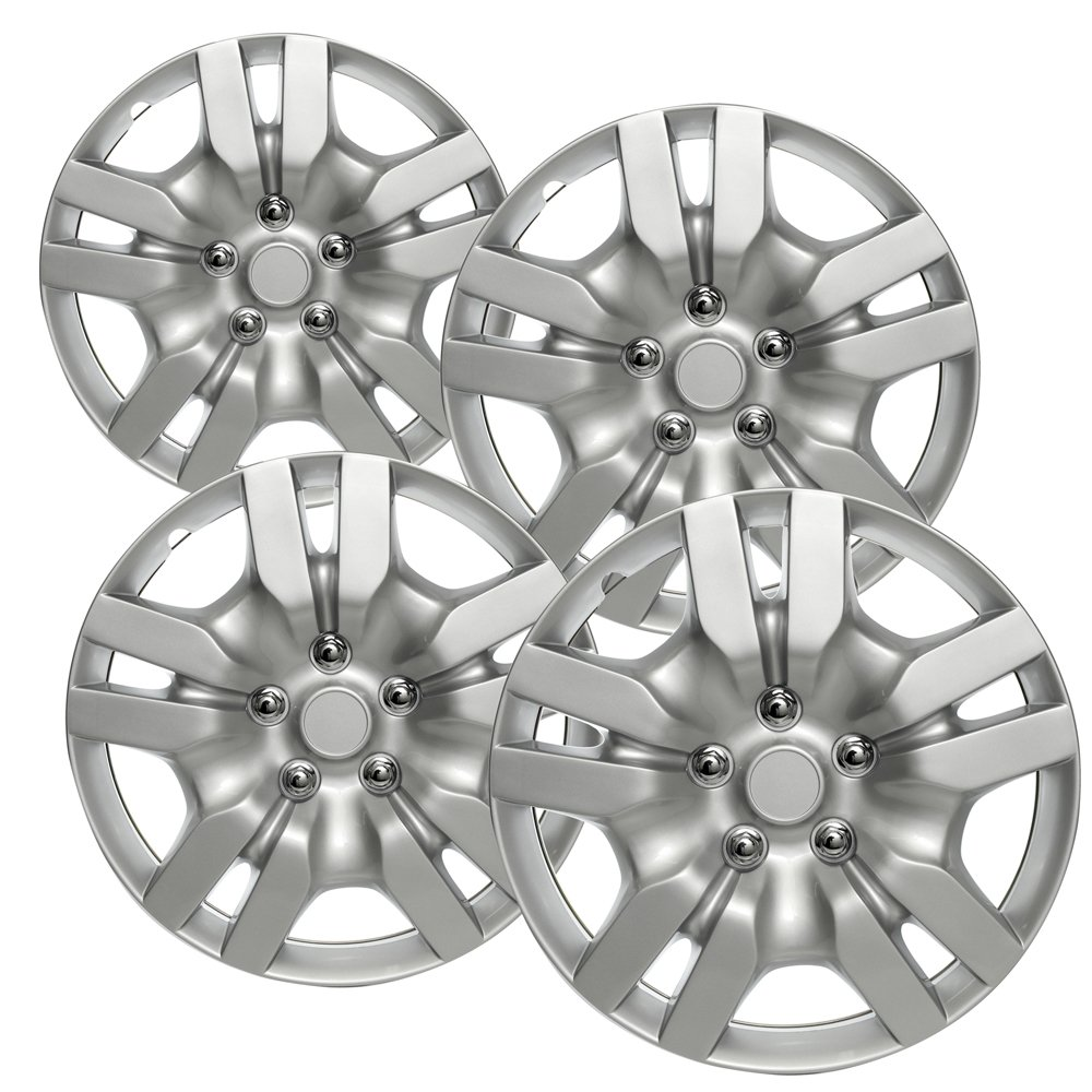 OxGord HC-53078-16SL 16 inch Silver Hubcaps Set of 4