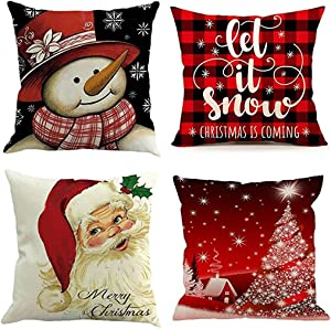 Emvency Set of 4 Throw Pillow Covers Christmas Snowman Let It Snow Red Black Buffalo Plaids Chair Decorative Pillow Cases Home Decor Square 18x18 Inches Pillowcases