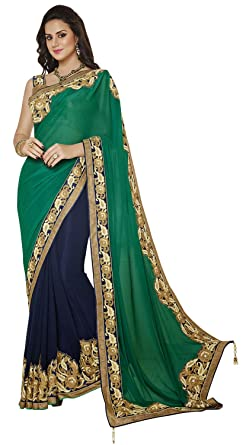 14c7682fd7 INMONARCH Womens Unique Dark Green and Navy Blue Half N Half Saree SSA3403  Stitched