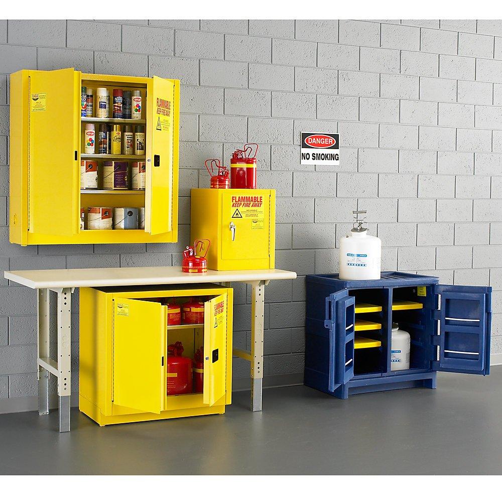 Eagle Polyethylene Acids/Corrosives Safety Cabinet - 18X18x22'' - 4-Gallon Capacity - White - White