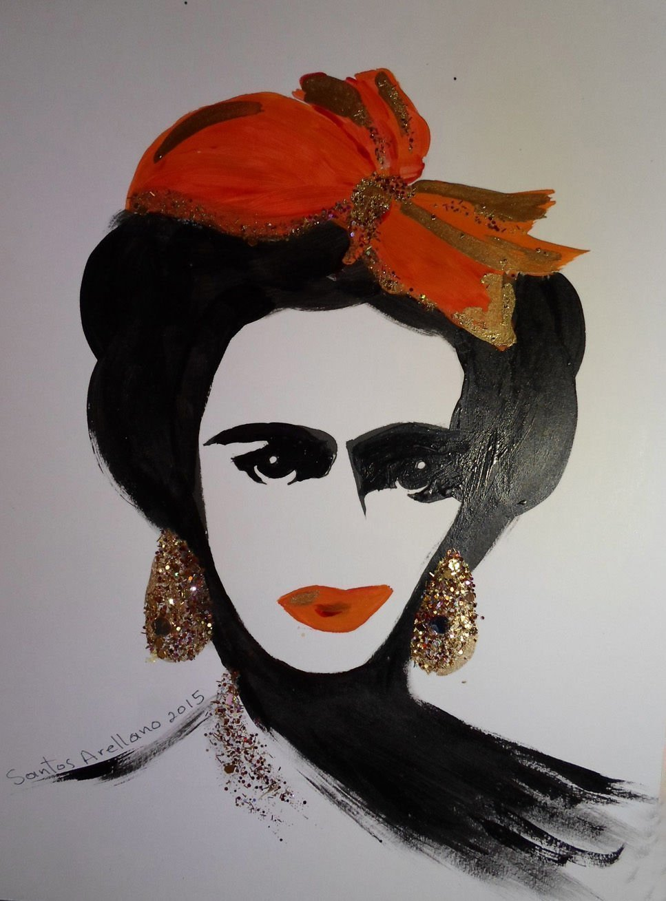 FRIDA KAHLO - RED BOW - Abstract - POP - MEXICAN FOLK ART Style :: ORIGINAL PAINTING - Acrylics and Ink - Modern Painting on Heavy White Paper - SIZE:11''x8.5'' - Signed by the Artist by Santos Arellano - Art & Crafts