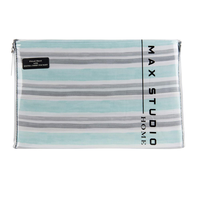 Max Studio 4 Piece King Cotton Coastal Sheet Set Aqua Grey Stripes on White Background