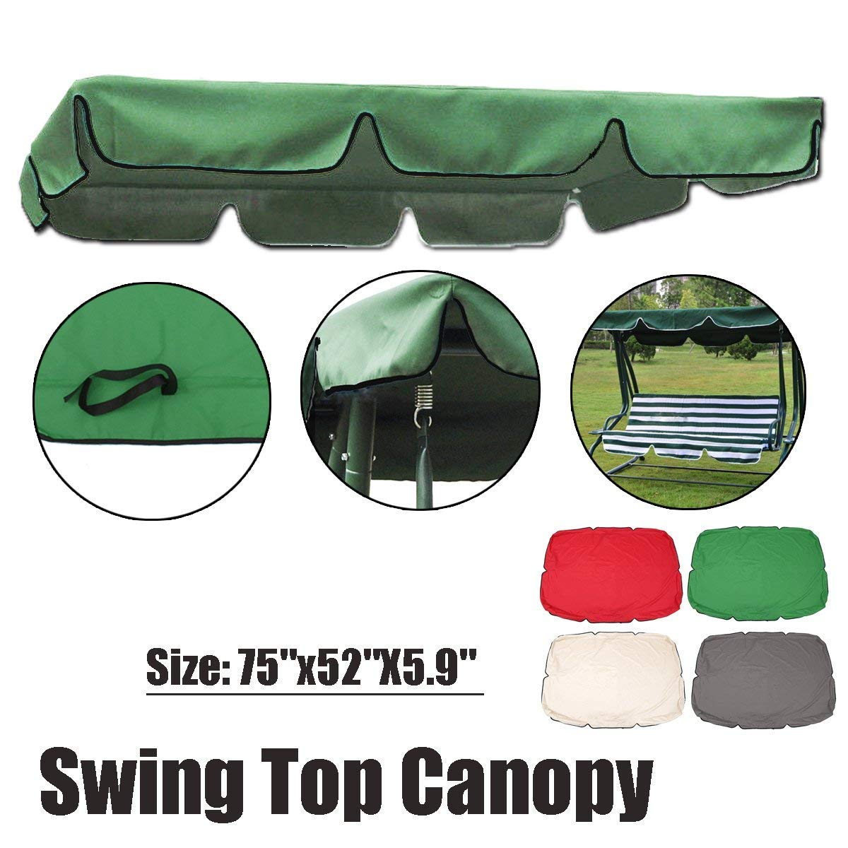 Essort Swing Canopy, 2 to 3 Seaters Waterproof Anti-UV Swing Top Cover Canopy Replacement for Outdoor Porch Patio Swing and Garden Hammock, 75'' × 52'' × 5.9'' Green