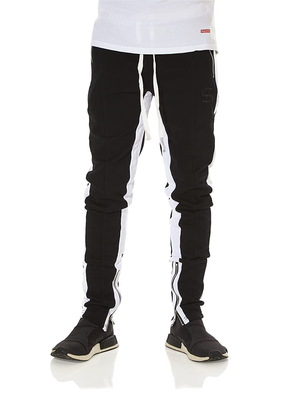 d478e7e668cd3 Cha e Clothing Striped Track Pants with Zipper at Amazon Men s Clothing  store