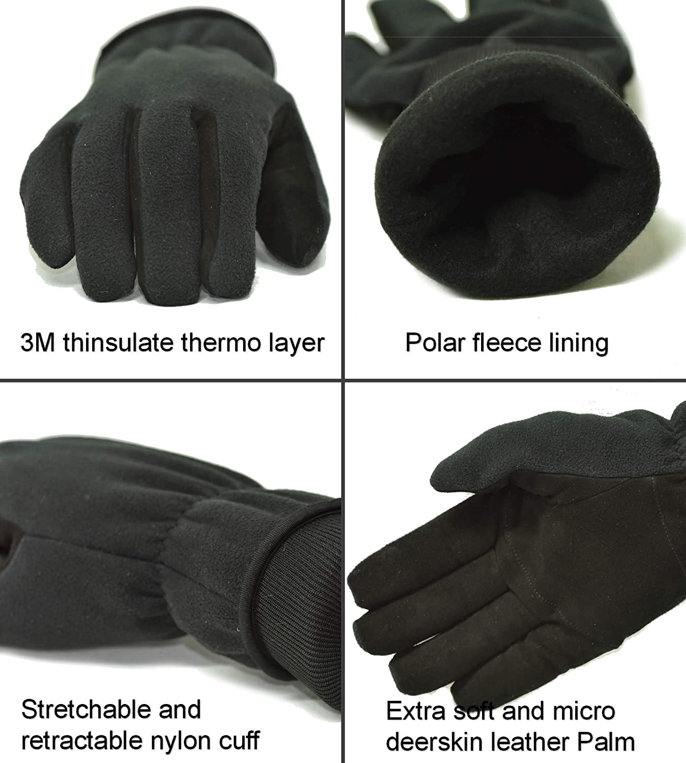 2 PAIR VALUE PACK Premium Deerskin Polar fleece Back and thinsulate lining Winter Outdoor Gloves size Large Themo Gloves 2 pairs cold weather gloves