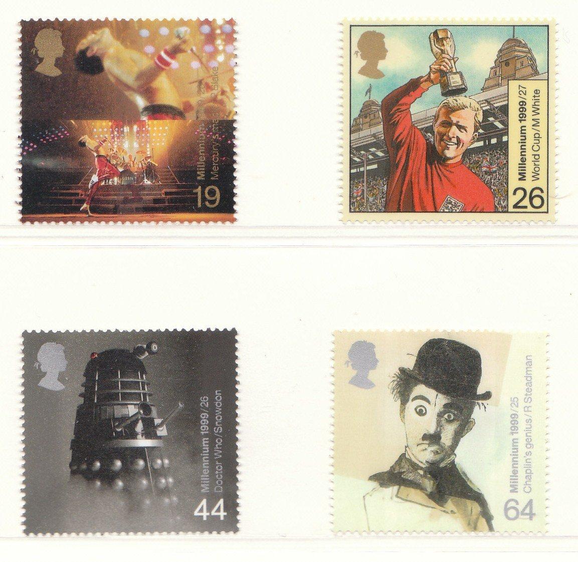 die Entertainer Tale Briefmarken Charlie Chaplin Dalek:: 1999 Millennium Serie - Pr/äsentation Pack:: Freddie Mercury//Queen:: Bobby Moore//WORLD CUP 1966:: DR WHO Set von 4