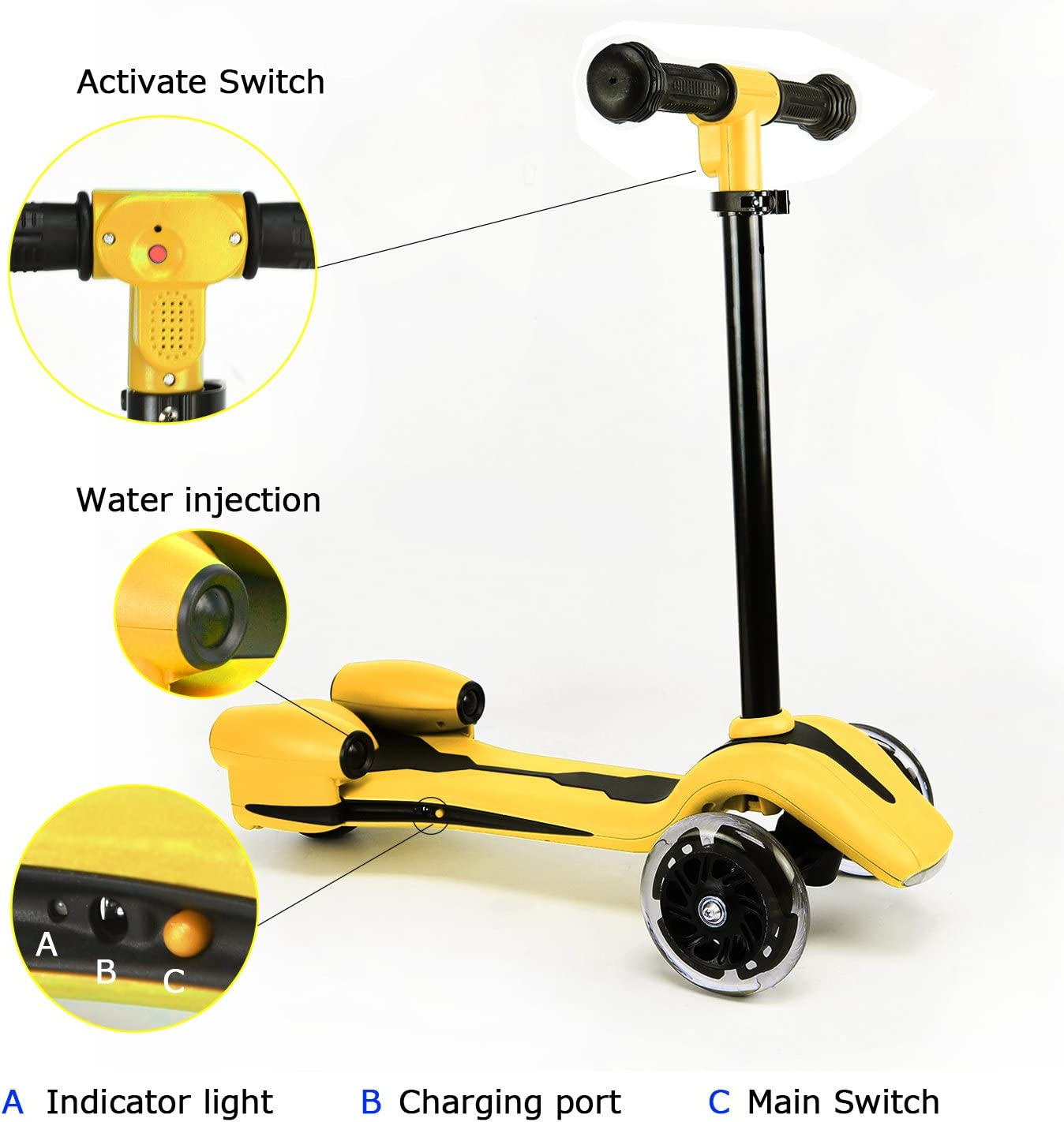 Kids 3 Wheel Push Scooter with Spray Smoke LED Light Music Rechargeable Battery