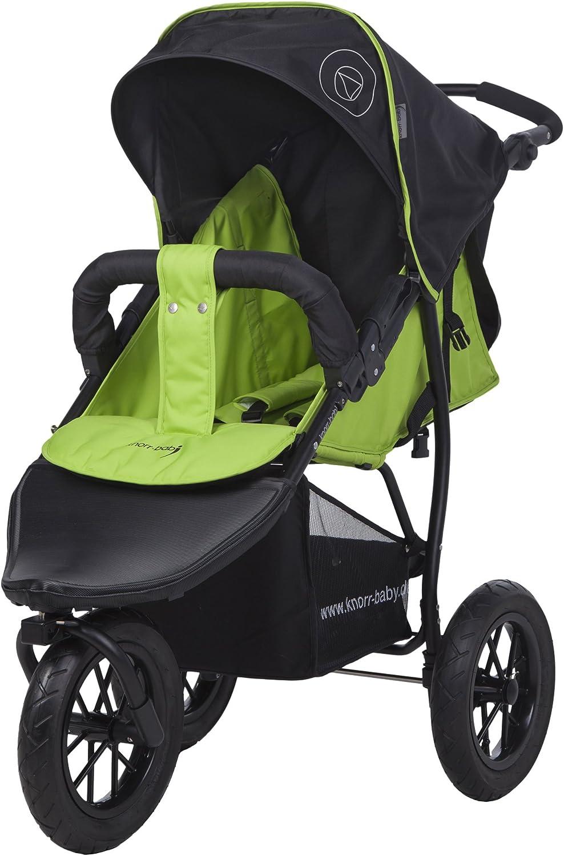 Carrito para niños de la marca Knorr-Baby, con tres ruedas y capota verde verde