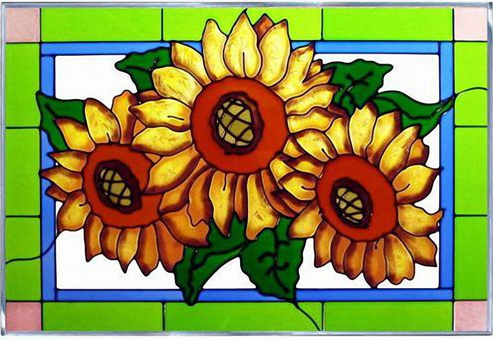 Sunflower Trio Art Glass Panel Wall Window Hanging Suncatcher