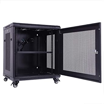 Amazon Com Tuffiom 12u Server Cabinet On Wheels Wall Mount Network Enclosure 11 7 Inside Depth 19 Inch Rack Equipment Locks Cooling Fans Casters Shelf Industrial Scientific