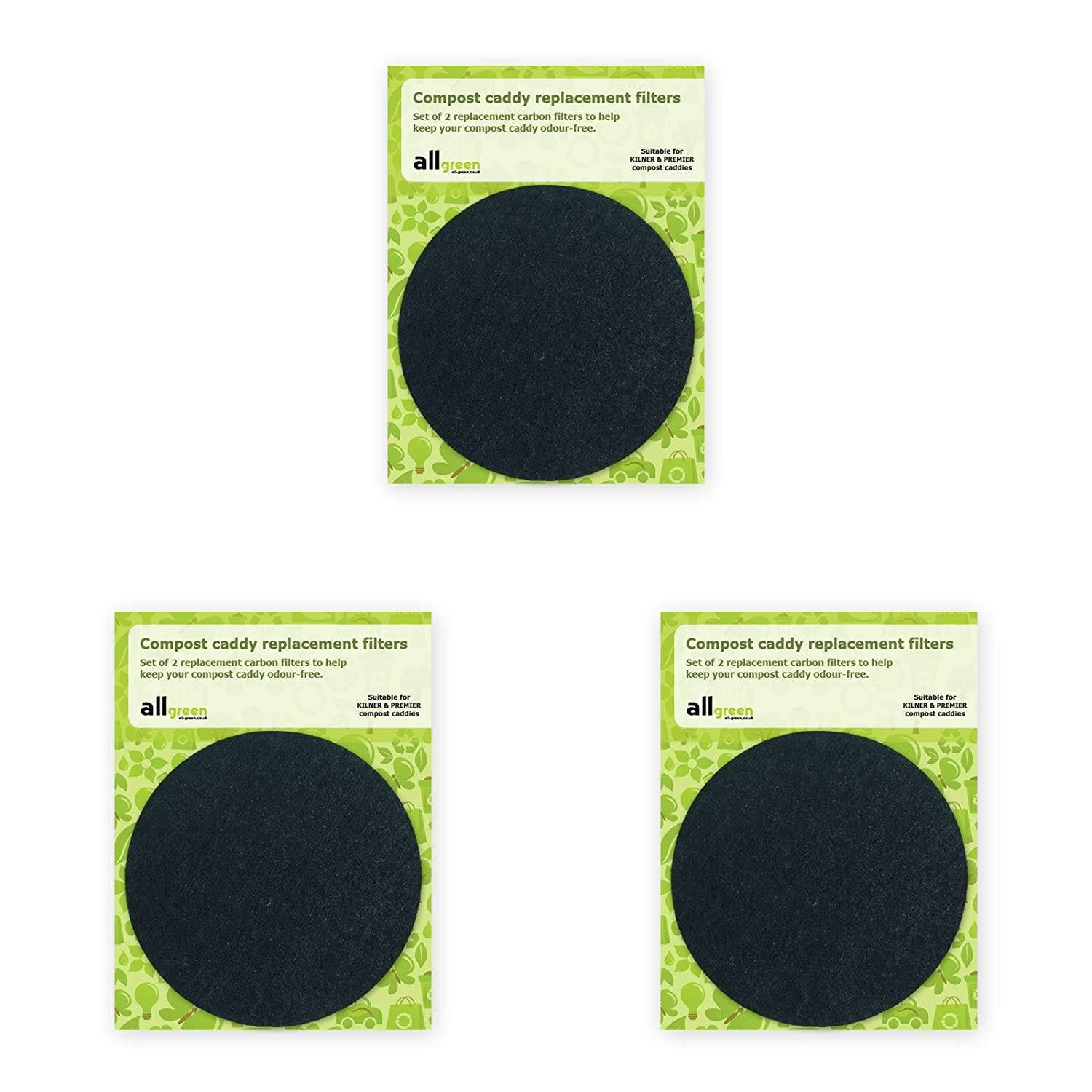 Compost Caddy Spare Filters - Suitable for the Kilner stainless steel & Premier filtered caddies - (3x 2pk - Total 6 filters) All-Green