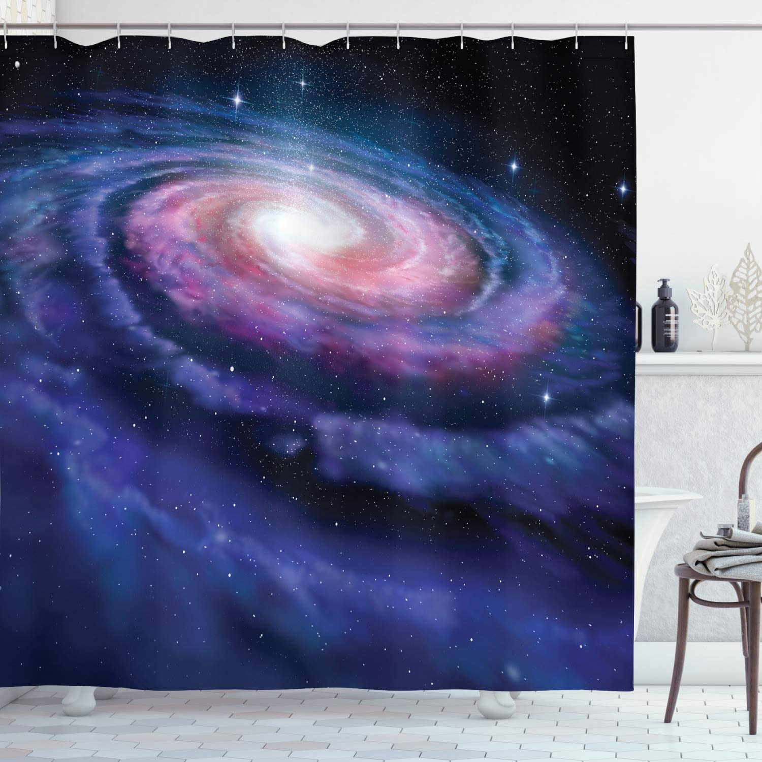 Amazon Com Ambesonne Outer Space Shower Curtain Spiral Cosmic Energy With Dark Nebula Cloud Burst Solar System Universe Image Cloth Fabric Bathroom Decor Set With Hooks 70 Long Purple Blue Home Kitchen