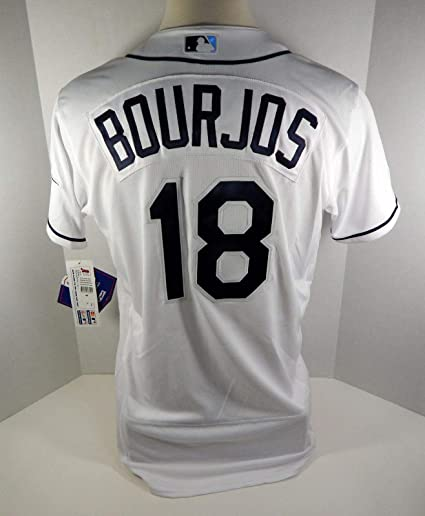 1695f4e3d3f6d Tampa Bay Rays Peter Bourjos #18 Game Issued White Jersey - Game ...