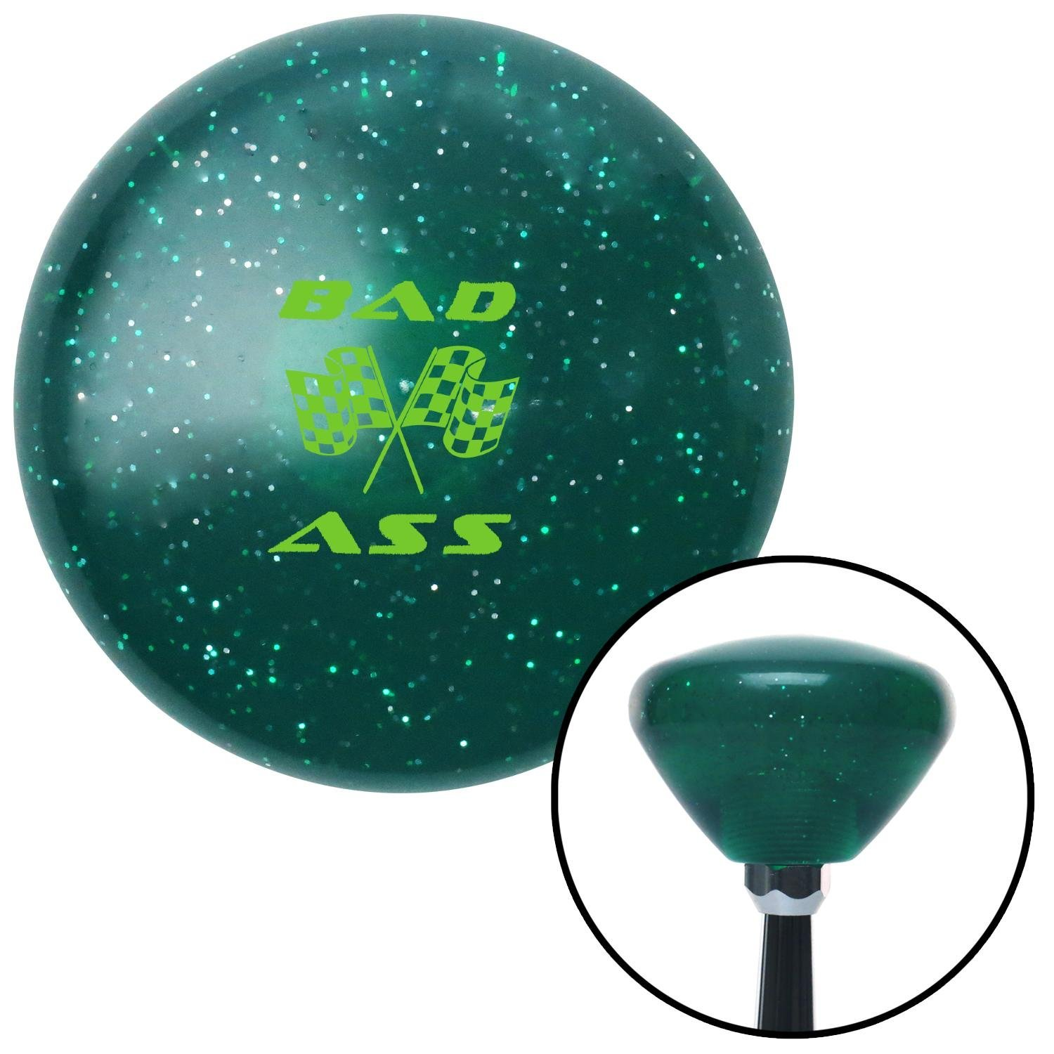 Green Bad Ass Flags American Shifter 208014 Green Retro Metal Flake Shift Knob with M16 x 1.5 Insert