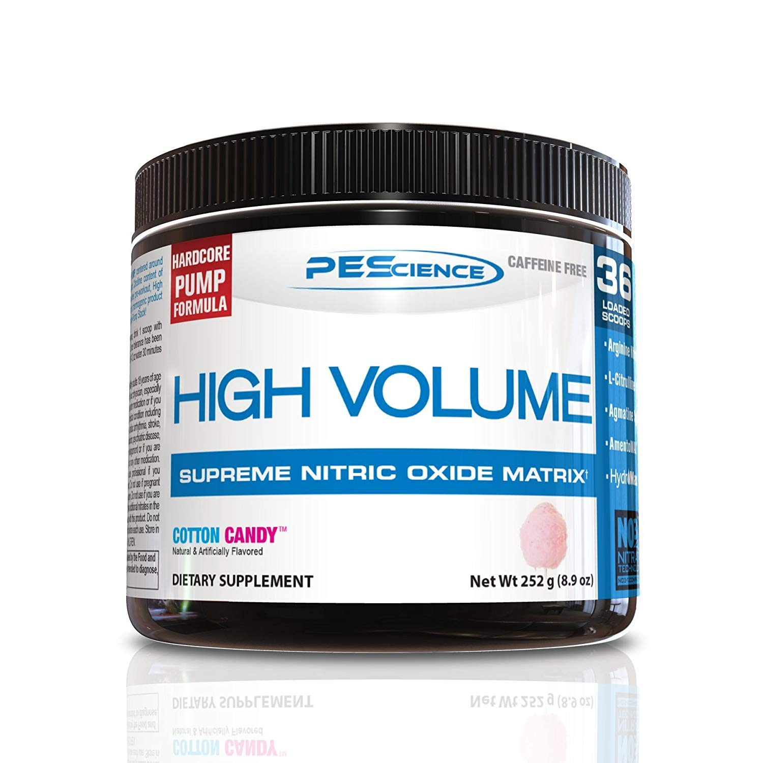 PEScience High Volume, Cotton Candy, 36 Scoops (Pack of 2), Caffeine-Free Preworkout