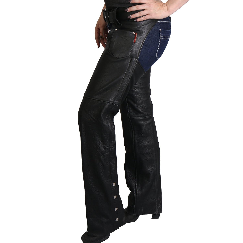 Hot Leathers CHM1001 Black; M Fully Lined Unisex Leather Chaps Black, Medium