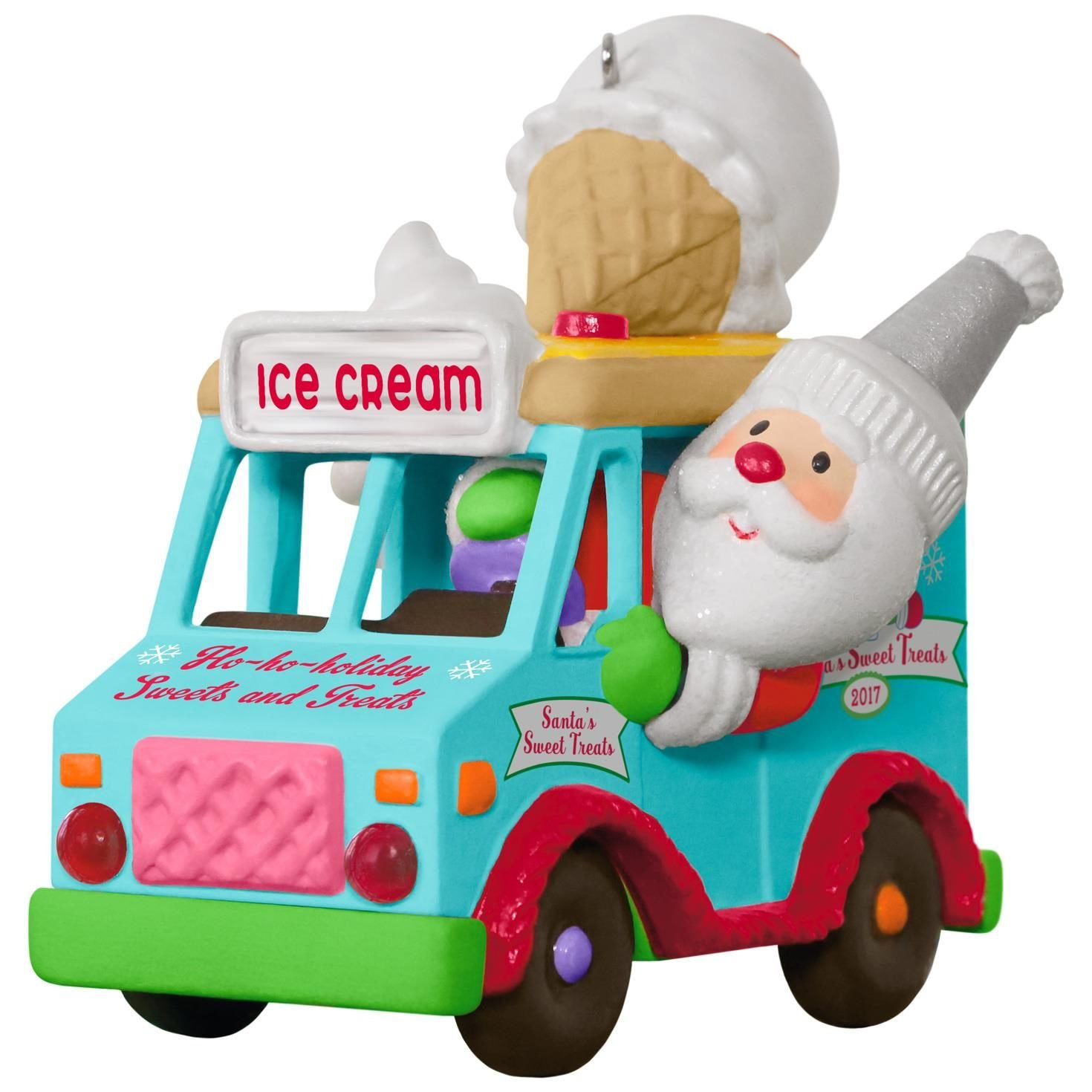 Hallmark Keepsake 2017 Santa's Sweet Surprise Ice Cream Truck Light and Music Christmas Ornament