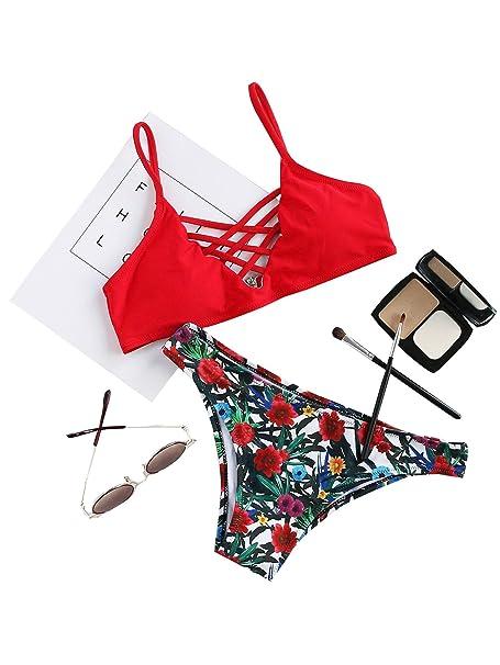 En Tiras Bikini Verano 2019 Y Hux Rojo2 Triángulo Floral Soly Con Pcs De Estampado Traje Baño MqUSzVLpG