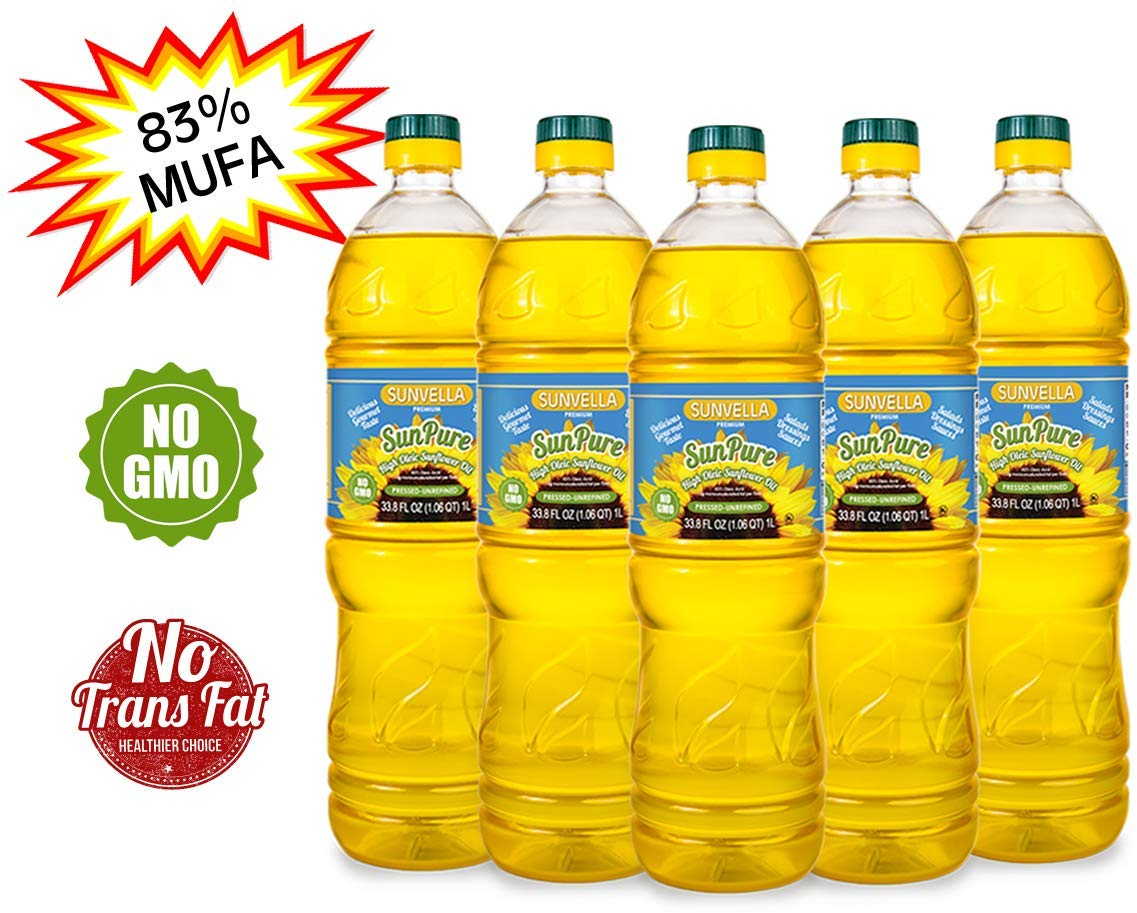 SUNVELLA SunPure Non-GMO High Oleic Sunflower Oil, Pressed-Unrefined (Pack of 5 x 33.8 FL OZ) by SUNVELLA