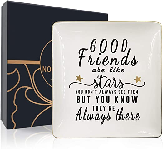 Amazon Com Nordic Runes Friend Gifts For Women Ceramic Ring Dish For Friends Sister Birthday Gift Good Friends Are Like Stars You Don T Always See Them But You Know They Re Always There