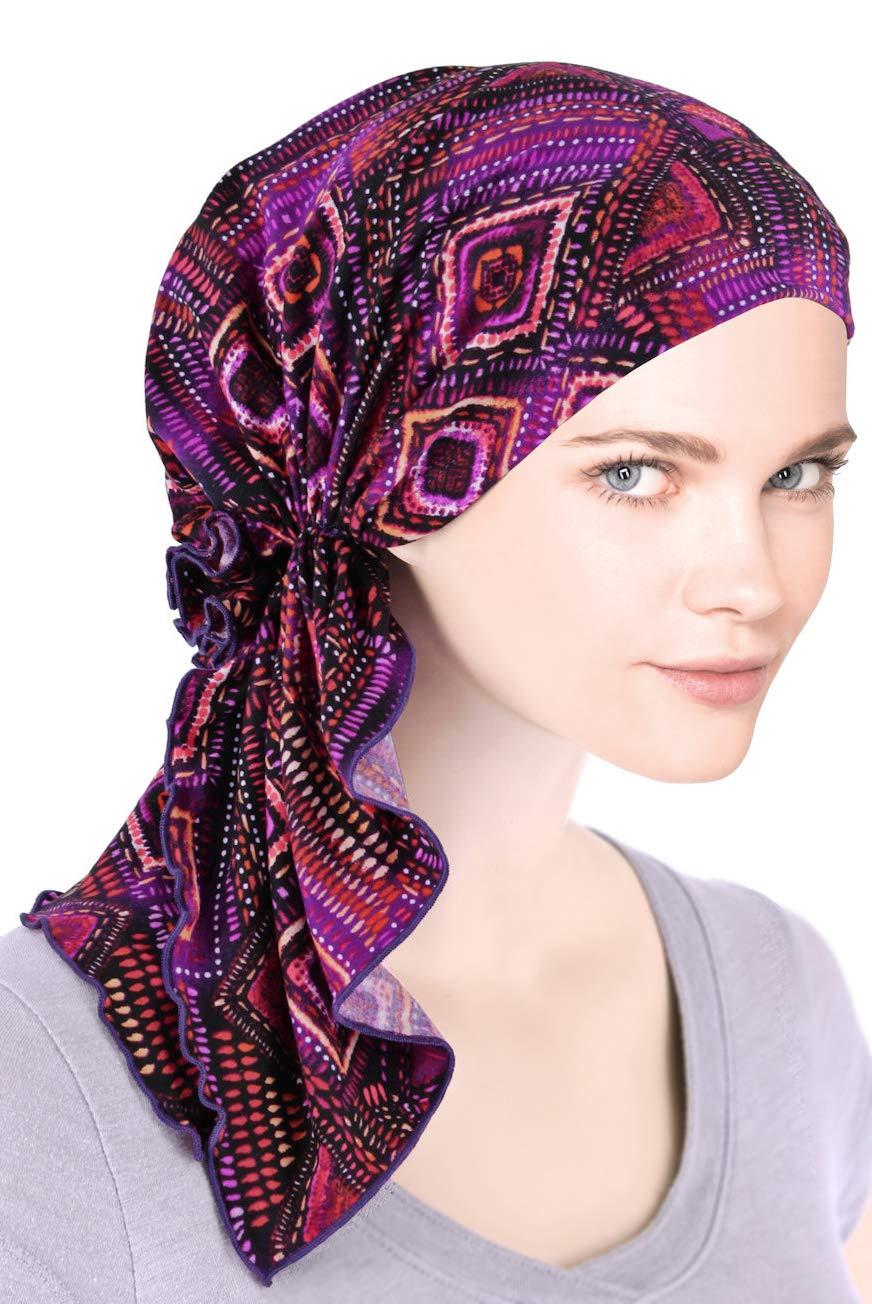 The Bella Scarf Chemo Turban Head Scarves Pre-Tied Bandana for Cancer Purple Violet Geometric by Turban Plus