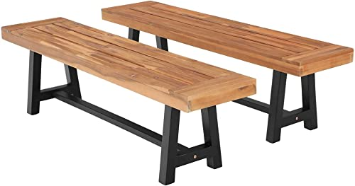 MFSTUDIO Outdoor Patio Bench 63″ Set of 2 Long Rectangular Acacia Wood Dining Picnic Farmhouse Furniture Benche