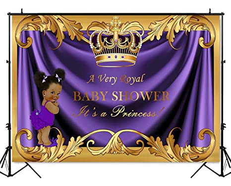 Mehofoto Baby Shower Backdrop Royal Little Princess Purple Crown Photography Background 7x5ft Vinyl Gold