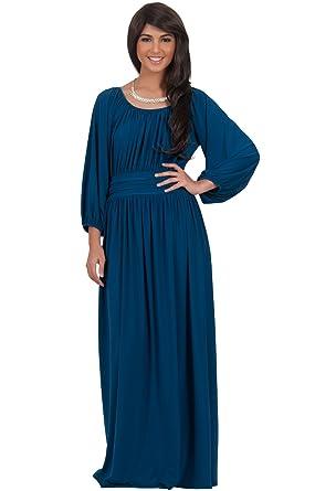 KOH KOH Womens Long Sleeve Vintage Peasant Empire Waist Pleated ...