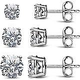 JINEAR 925 Sterling Silver CZ Stud Earrings for Women Hypoallergenic Round Cubic Zirconia Ear Stud Set(3 Pairs)