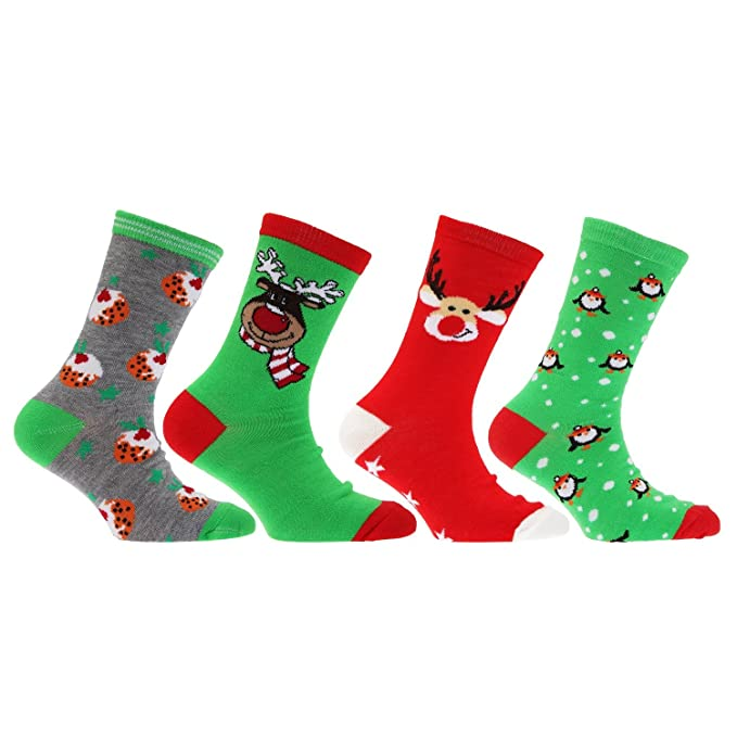 Kids Novelty Festive Xmas Christmas Gift Socks Size 9//12 12.5//3.5 4//6