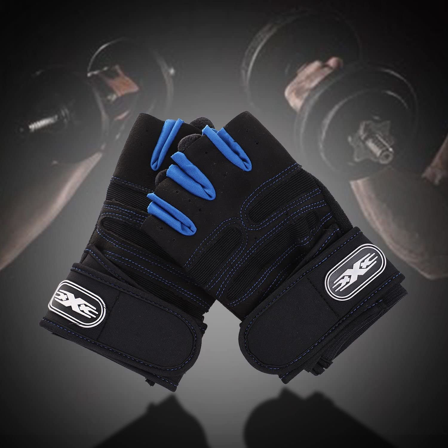 CUHAWUDBA Weight lifting Gym Gloves Training Fitness Wrist Wrap Workout Exercise Sports Navy blue M