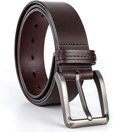 Leather Mens Belt Belts Real New Genuine Buckle Trouser Tan Brown Black Jeans