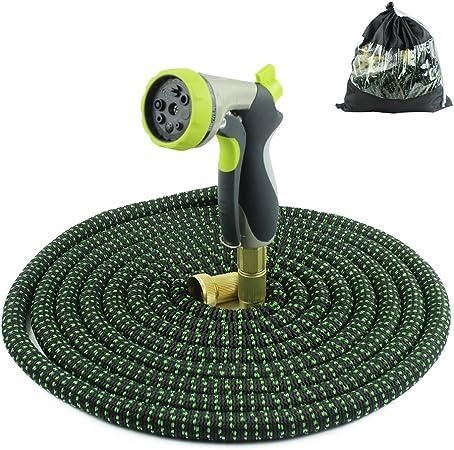 Manguera de jardín extensible de 100 pies Manguera de agua ligera para jardín con accesorios de latón macizo de 3/4 pulgadas Manguera flexible de jardín para exteriores flexibles para jardín Mangueras: Amazon.es: