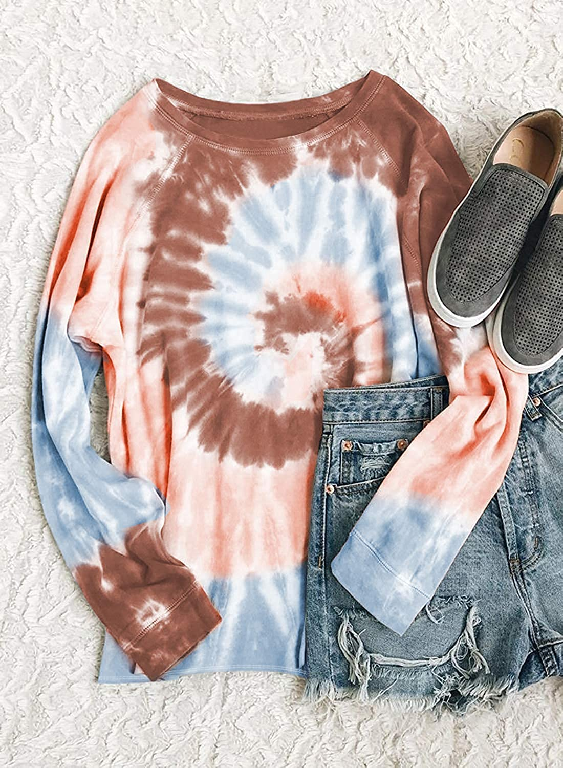Womens Tie Dye Sweatshirt Casual Long Sleeve T Shirt Loose Round Neck Pullover Top