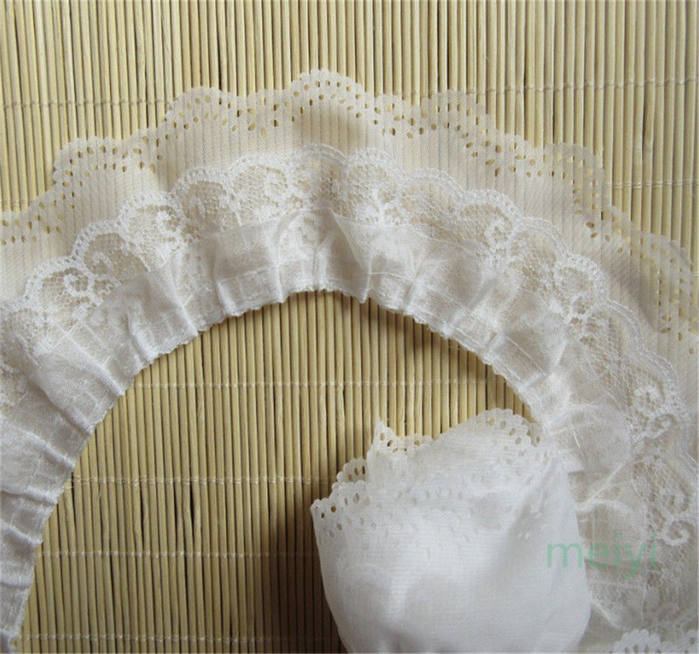 2 Yards 3 Layers Organza Gathered Lace Edge Trim Ribbon 6.5 cm Width Vintage Style White Edging Trimmings Fabric Embroidered Applique Sewing Craft Wedding Bridal Dress DIY Clothes Embellishment Qiuda