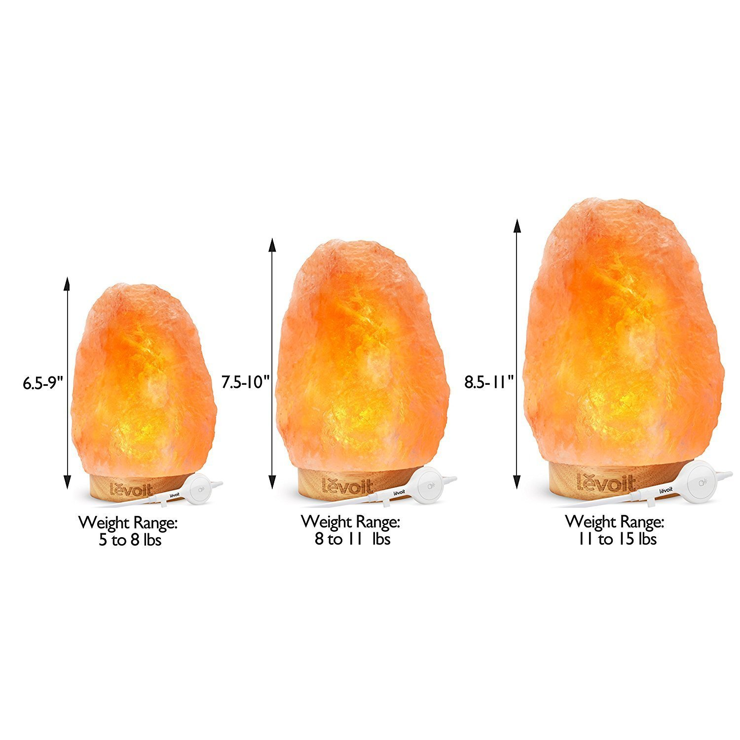 Levoit Salt Lamp, Himalayan / Hymilain Sea Salt Lamps, Pink Crystal Large Salt Rock Lamp, Night Light, Real Rubber Wood Base, Dimmable Touch Switch, Luxury Gift Box(UL-Listed, 2 Extra Original Bulbs) by LEVOIT (Image #9)