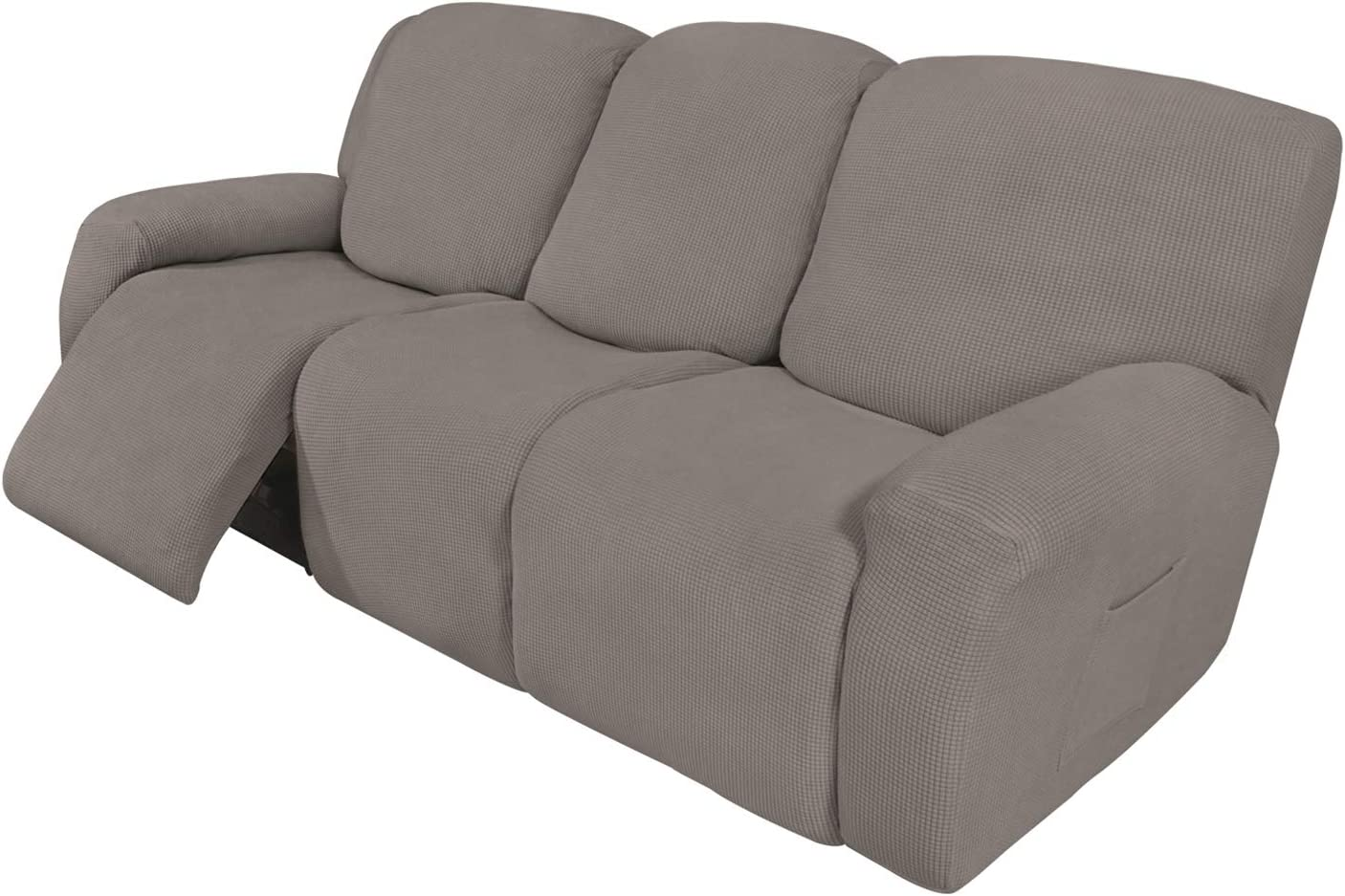 Easy-Going 8 Pieces Recliner Sofa Stretch Sofa Slipcover Sofa Cover Furniture Protector Couch Soft with Elastic Bottom Kids, Spandex Jacquard Fabric Checks Taupe