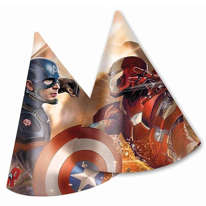 Gorros de fiesta con diseño del Capitán América: Guerra Civil, 6unidades.