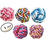 HTKJ Dog Toys Balls for Small to Medium Large Doggie, Durable Teething Aid Cotton Rope Knot Pet Dog Chew Toys