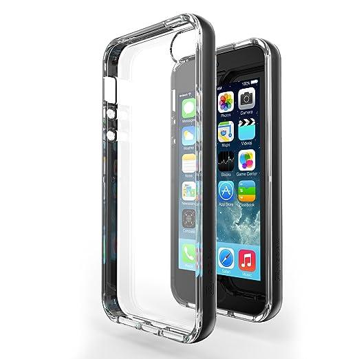 93 opinioni per Custodia iPhone SE / 5S / 5- Azorm Hybrid Edition Nero- Effetti Metallici,