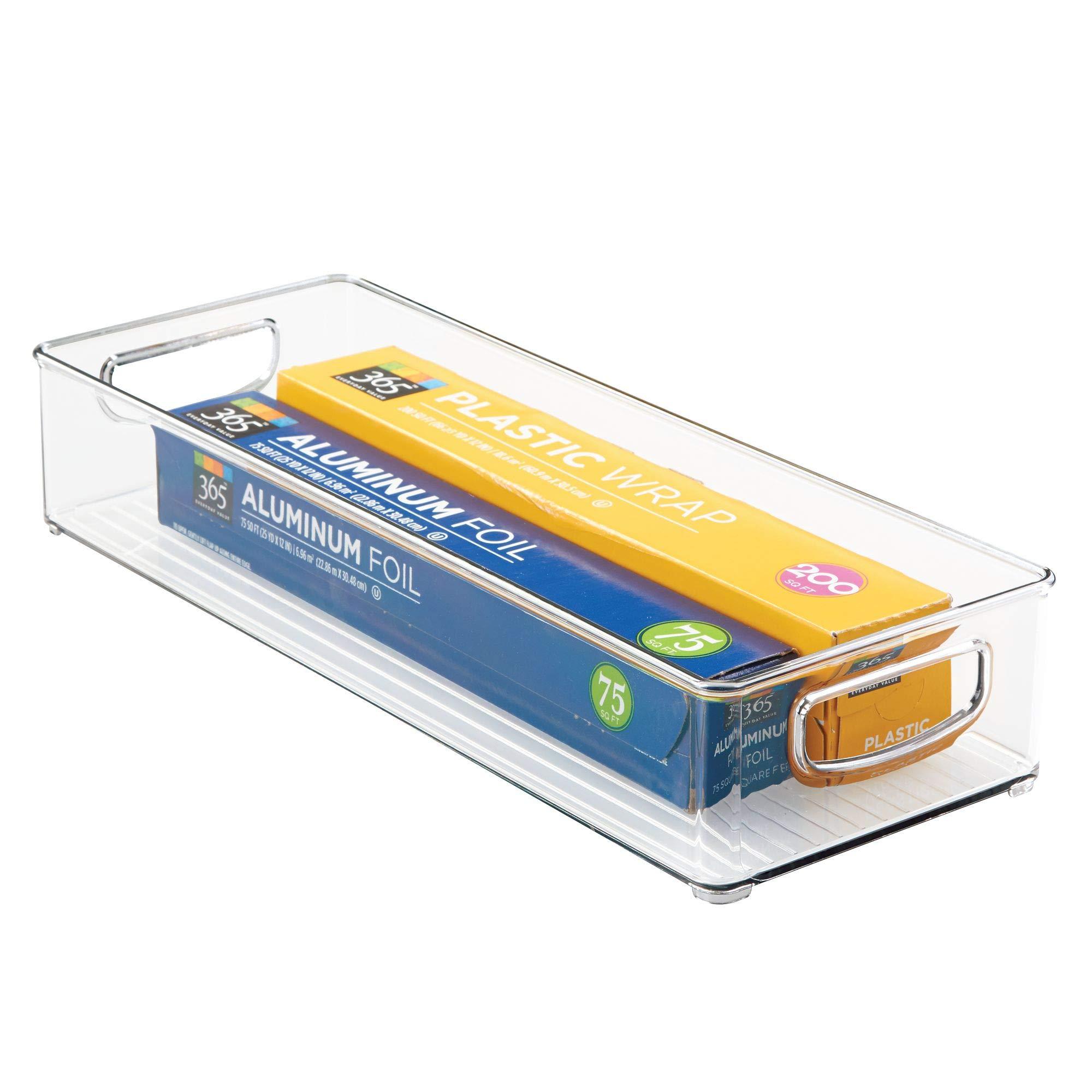InterDesign Home Kitchen Organizer Bin for Pantry, Refrigerator, Freezer & Storage Cabinet 16'' x 6'' x 3'', Clear